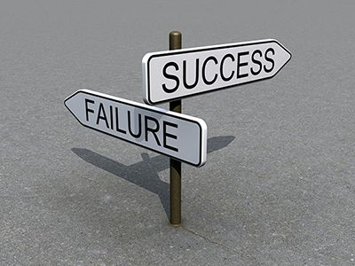 """Success"" and ""Failure"" street signs"