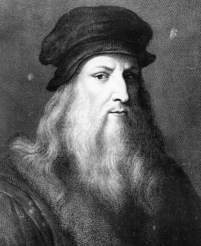 black and white illustrated portrait of Leonardo da Vinci