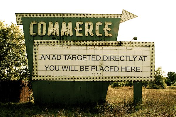 "vintage road side sign with the title ""commerce"""